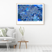 Bakersfield, California map art print in blue shapes designed by Maps As Art.