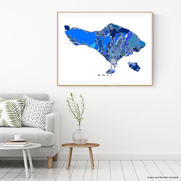 Bali map art print in blue shapes designed by Maps As Art.