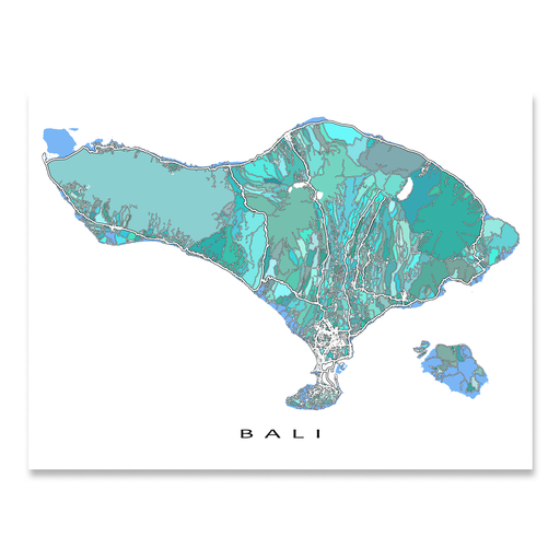 Bali map art print in blue, aqua and turquoise shapes designed by Maps As Art.