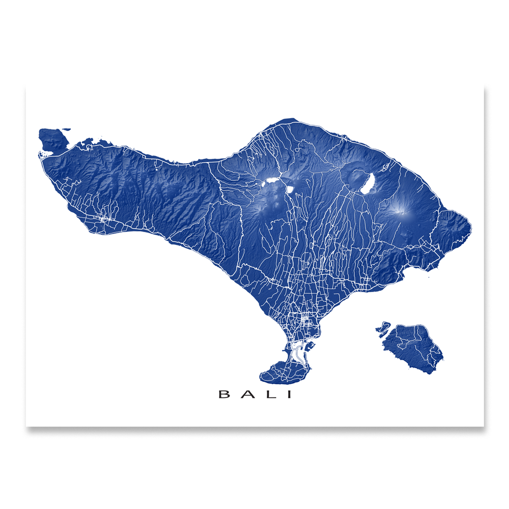 Bali map print with natural island landscape and main roads in Navy designed by Maps As Art.