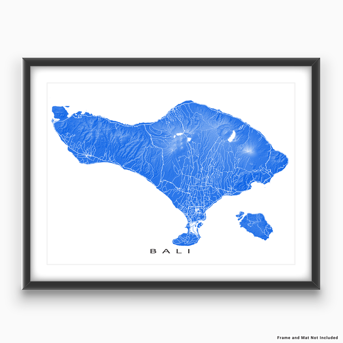 Bali map print with natural island landscape and main roads in Blue designed by Maps As Art.