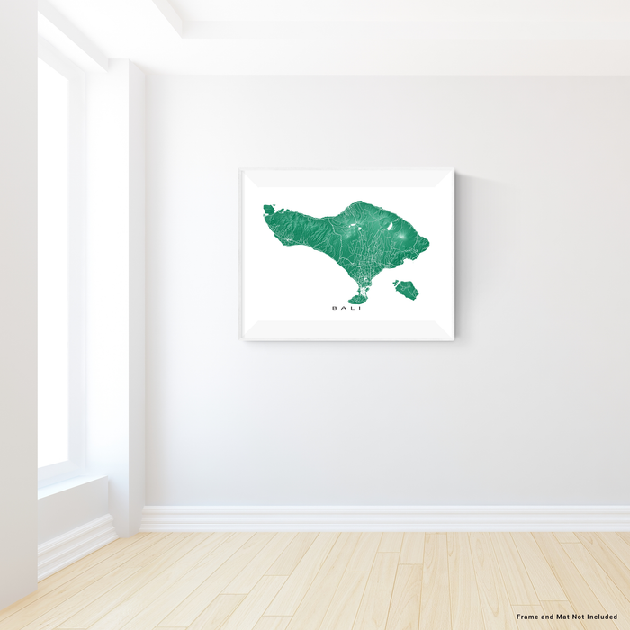 Bali map print with natural island landscape and main roads in Green designed by Maps As Art.