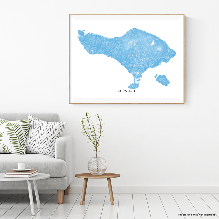 Bali map print with natural island landscape and main roads in Malibu designed by Maps As Art.