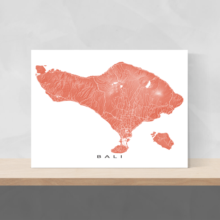 Bali map print with natural island landscape and main roads in Terracotta designed by Maps As Art.