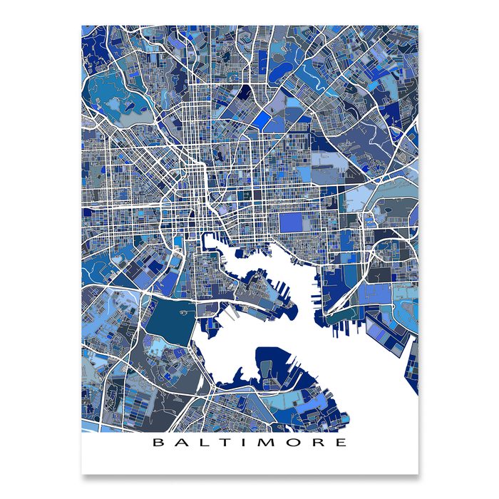 Baltimore, Maryland map art print in blue shapes designed by Maps As Art.