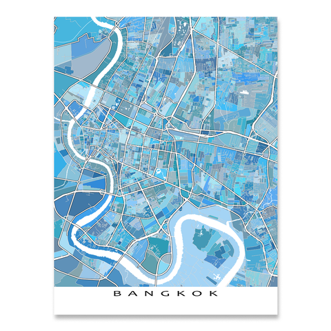 Bangkok Map Print, Thailand, Light Blue
