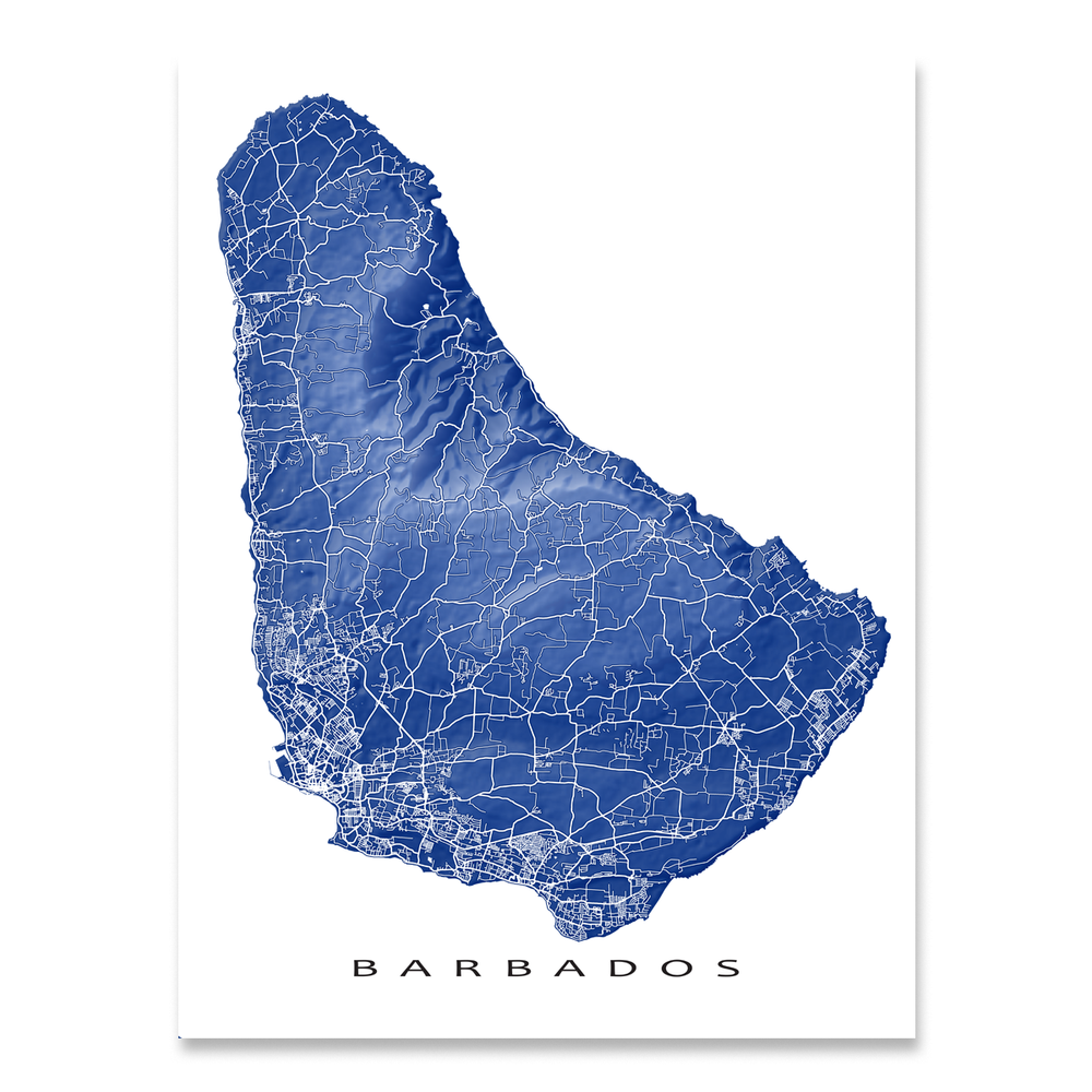 Barbados map print with natural island landscape and main roads in Navy designed by Maps As Art.