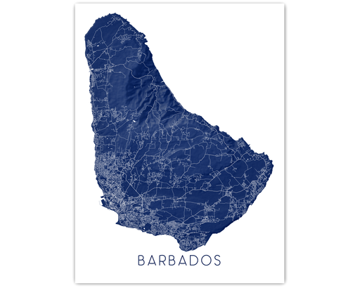 Barbados island map print in Midnight by Maps As Art.