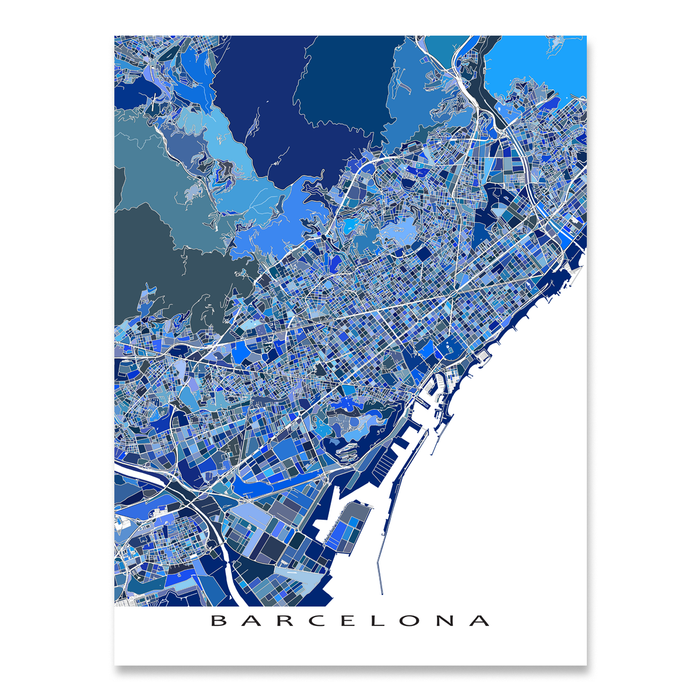 Barcelona, Spain map art print in blue shapes designed by Maps As Art.