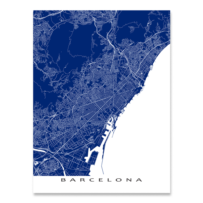 Barcelona, Spain map print with natural landscape and main roads in Navy designed by Maps As Art.