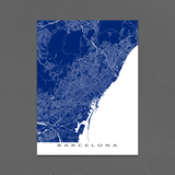 Barcelona Map Print, Spain, Colors