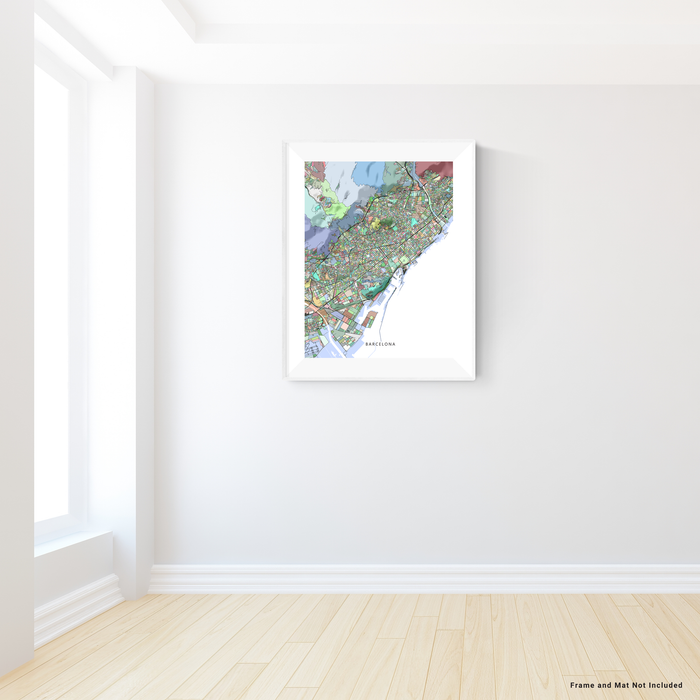 Barcelona, Spain map art print in colourful shapes designed by Maps As Art.