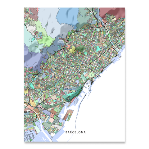 Barcelona Map Print, Spain, Colorful