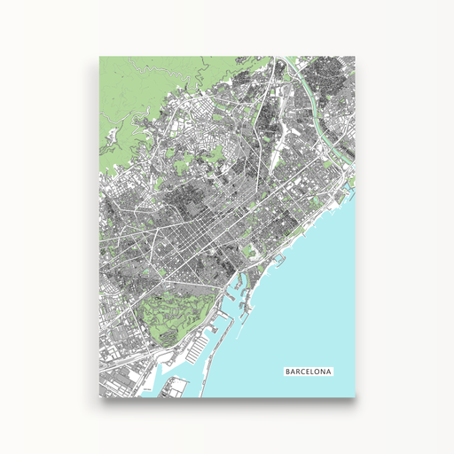 Barcelona map print with city buildings by Maps As Art.