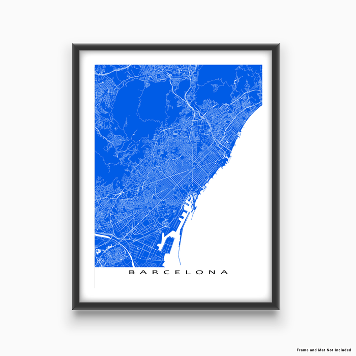Barcelona, Spain map print with natural landscape and main roads in Blue designed by Maps As Art.