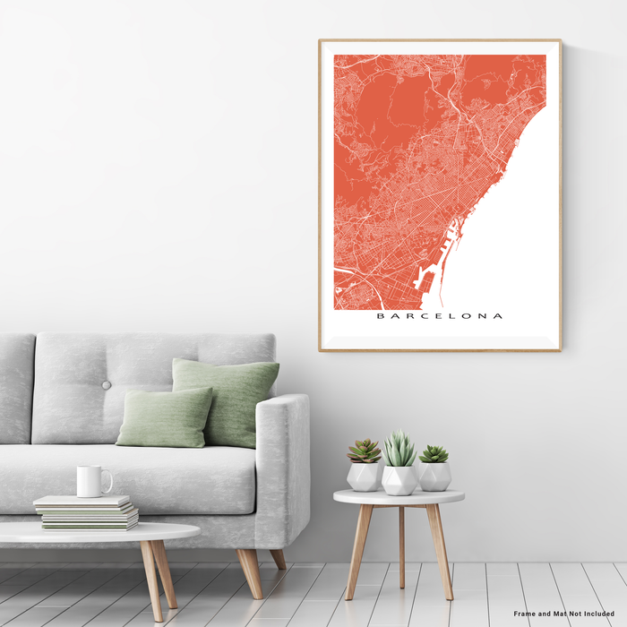 Barcelona, Spain map print with natural landscape and main roads in Terracotta designed by Maps As Art.