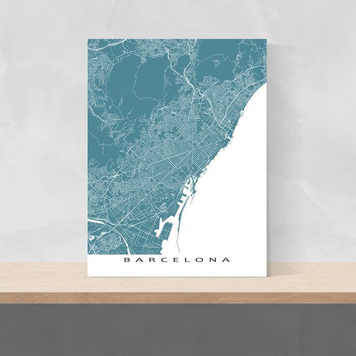 Barcelona, Spain map print with natural landscape and main roads in Marine designed by Maps As Art.