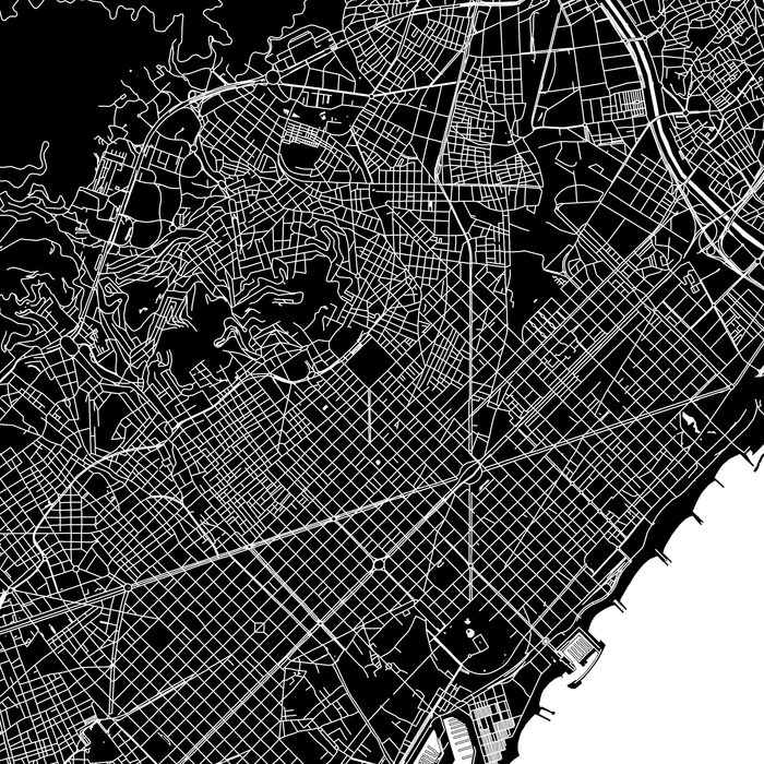 Barcelona, Spain map print close-up with natural landscape and main roads designed by Maps As Art.