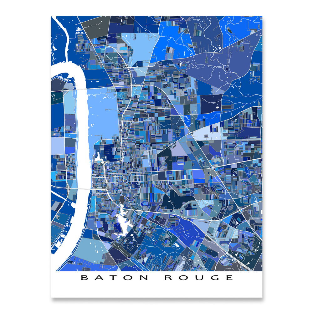 Baton Rouge Map Print, Louisiana, USA