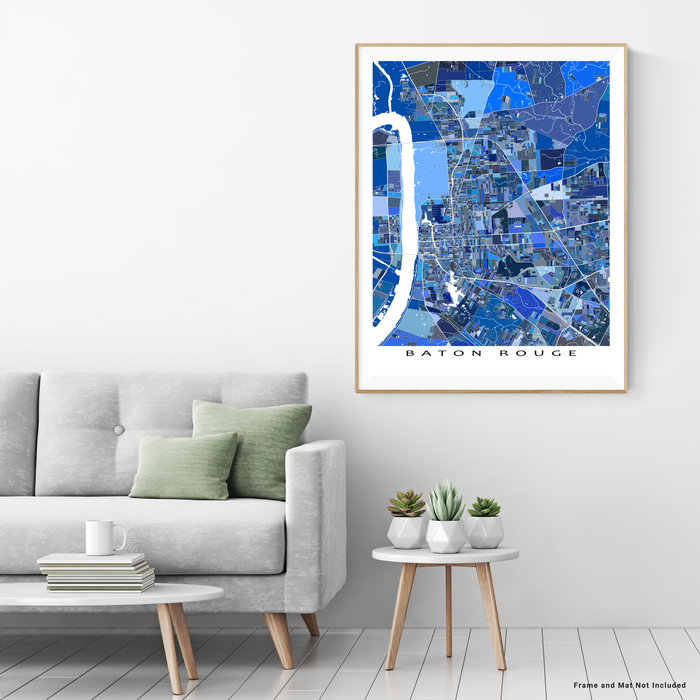 Baton Rouge, Louisiana map art print in blue shapes designed by Maps As Art.