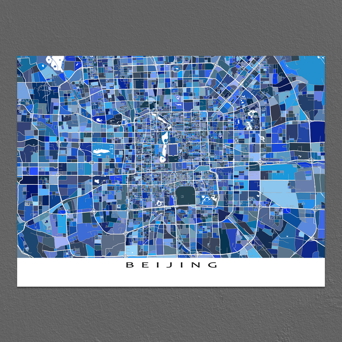 Beijing, China map art print in blue shapes designed by Maps As Art.