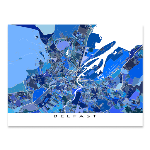 Belfast, Northern Ireland map art print in blue shapes designed by Maps As Art.