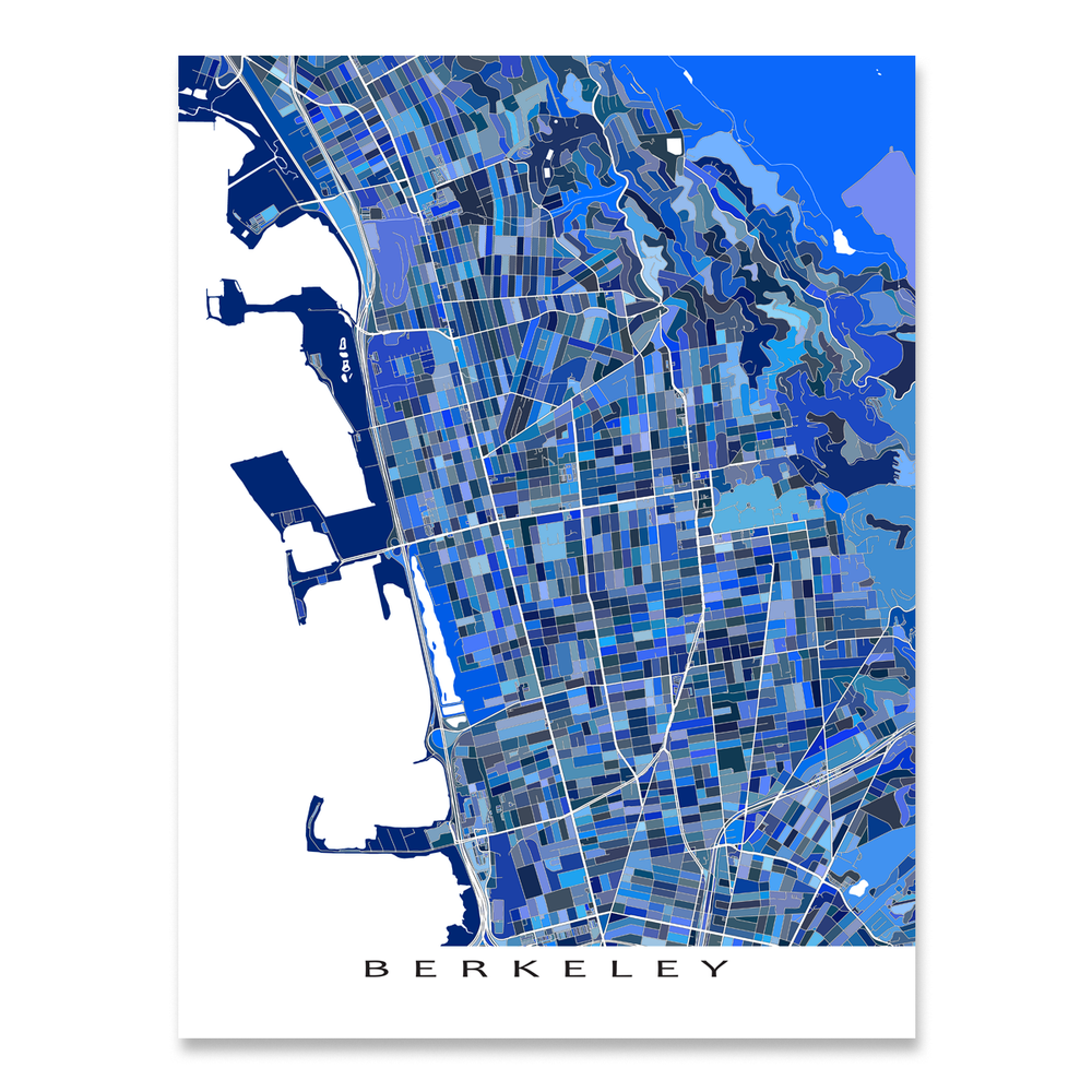 Berkeley, California map art print in blue shapes designed by Maps As Art.