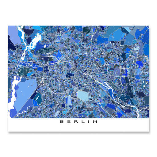 Berlin, Germany map art print in blue shapes designed by Maps As Art.