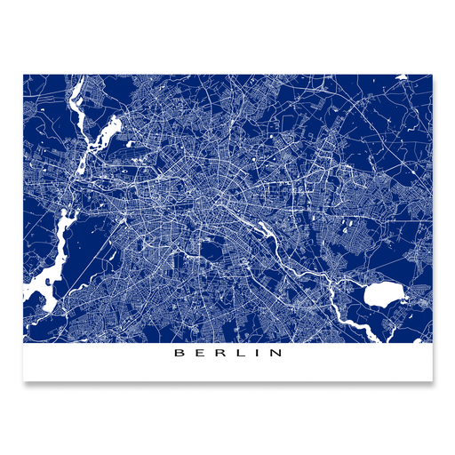 Berlin, Germany map print with city streets and roads in Navy designed by Maps As Art.