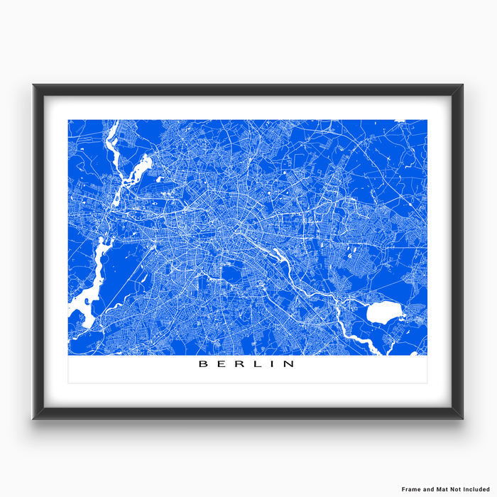 Berlin, Germany map print with city streets and roads in Blue designed by Maps As Art.