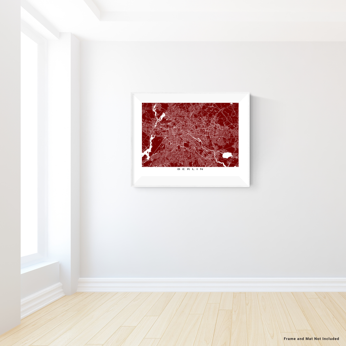 Berlin, Germany map print with city streets and roads in Merlot designed by Maps As Art.