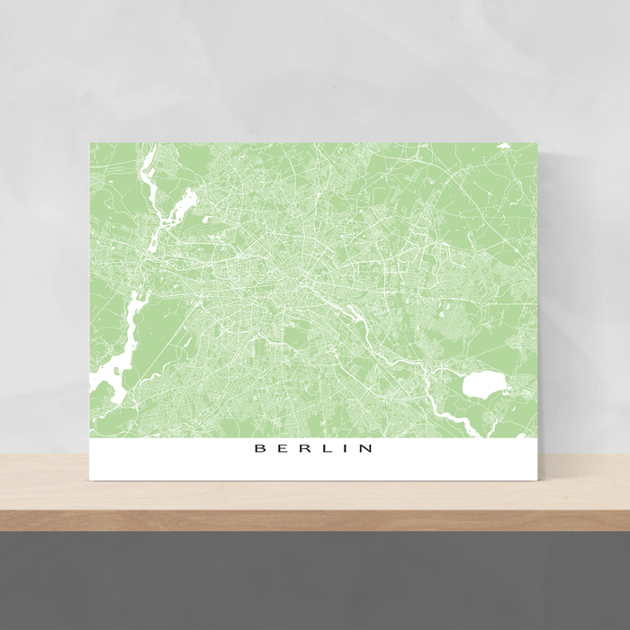 Berlin, Germany map print with city streets and roads in Sage designed by Maps As Art.