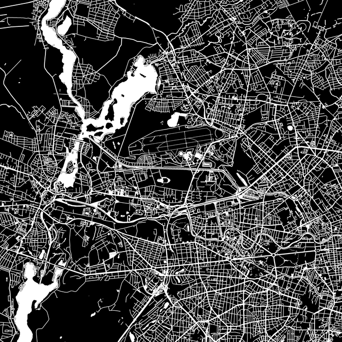 Berlin, Germany map print close-up with city streets and roads designed by Maps As Art.