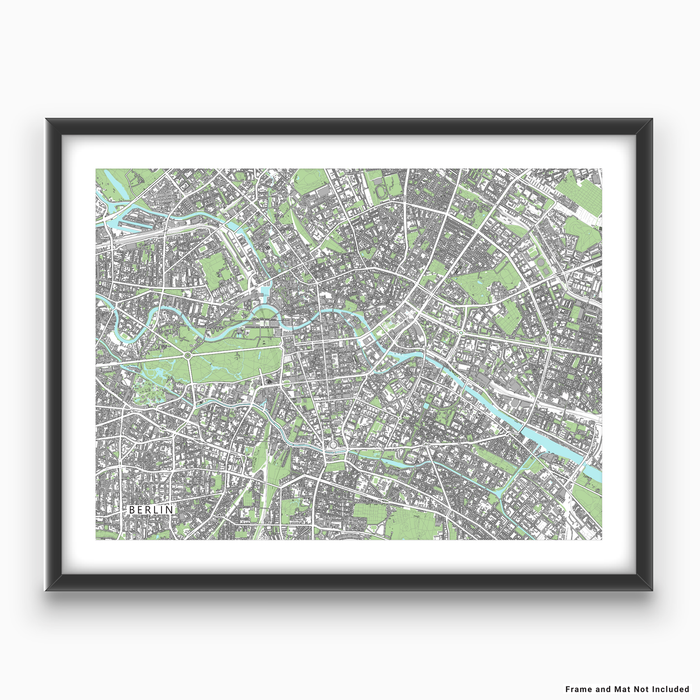 Berlin, Germany map art print with city streets and buildings designed by Maps As Art.