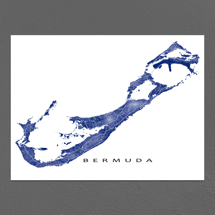 Bermuda map print with natural landscape and main roads in Navy designed by Maps As Art.