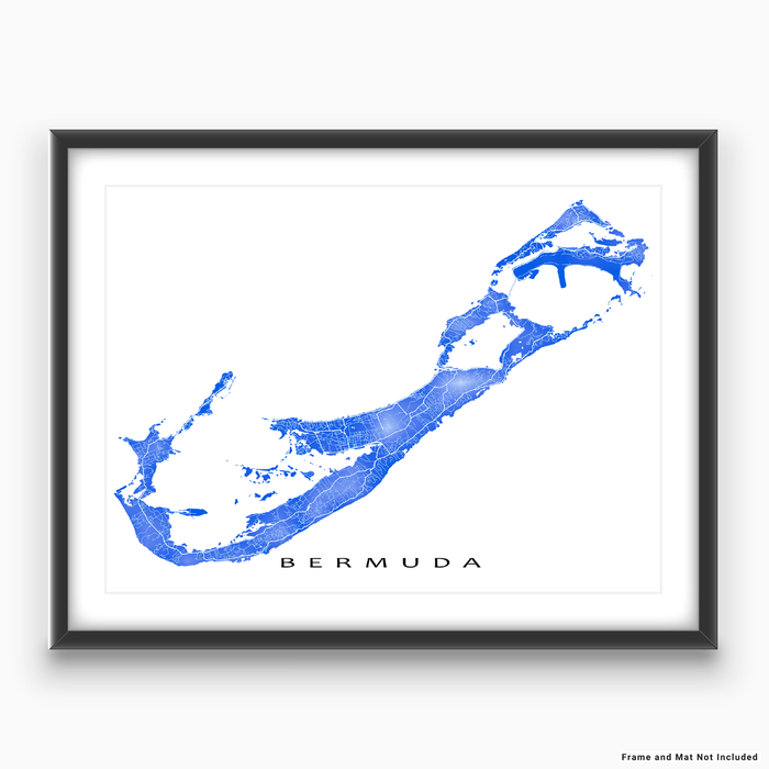 Bermuda map print with natural landscape and main roads in Blue designed by Maps As Art.