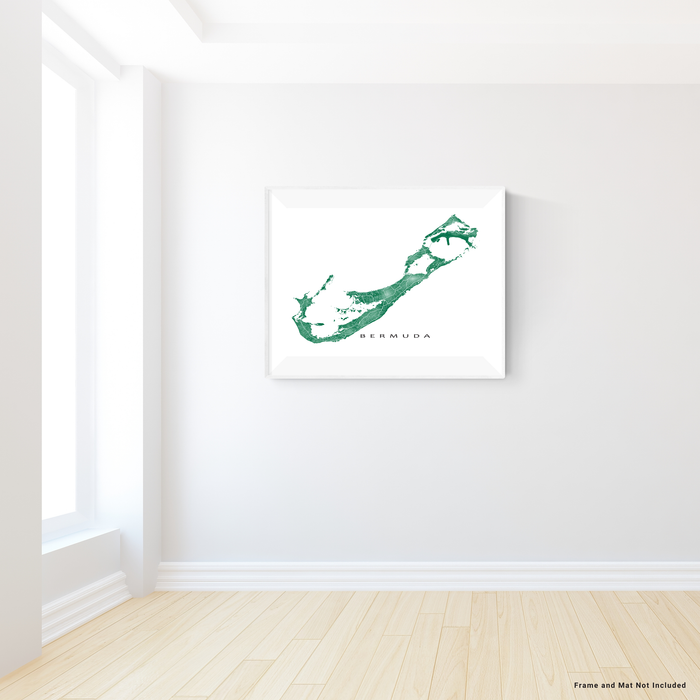 Bermuda map print with natural landscape and main roads in Green designed by Maps As Art.