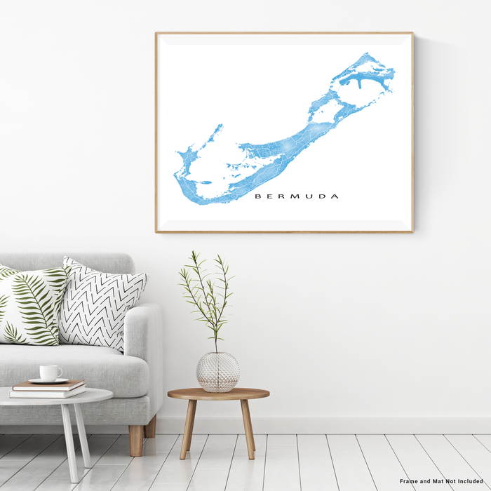 Bermuda map print with natural landscape and main roads in Malibu designed by Maps As Art.
