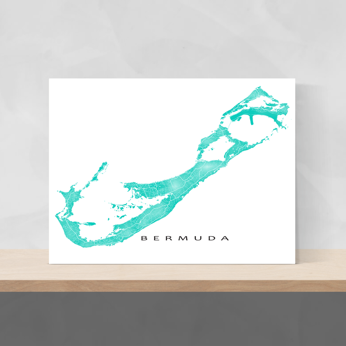 Bermuda map print with natural landscape and main roads in Turquoise designed by Maps As Art.