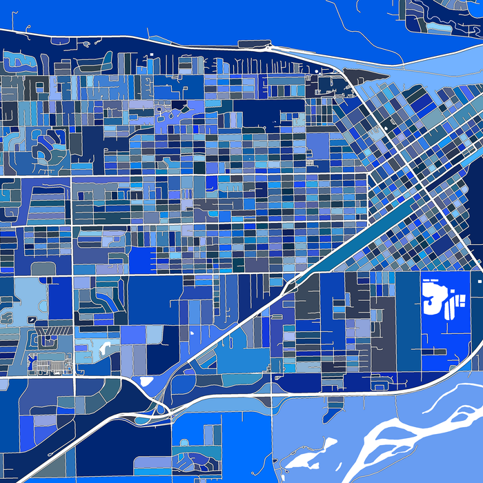 Billings, Montana map art print in blue shapes designed by Maps As Art.