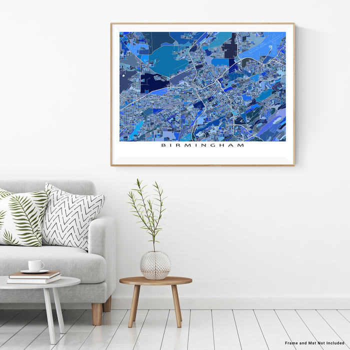 Birmingham, Alabama map art print in blue shapes designed by Maps As Art.