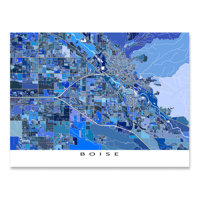 Boise, Idaho map art print in blue shapes designed by Maps As Art.
