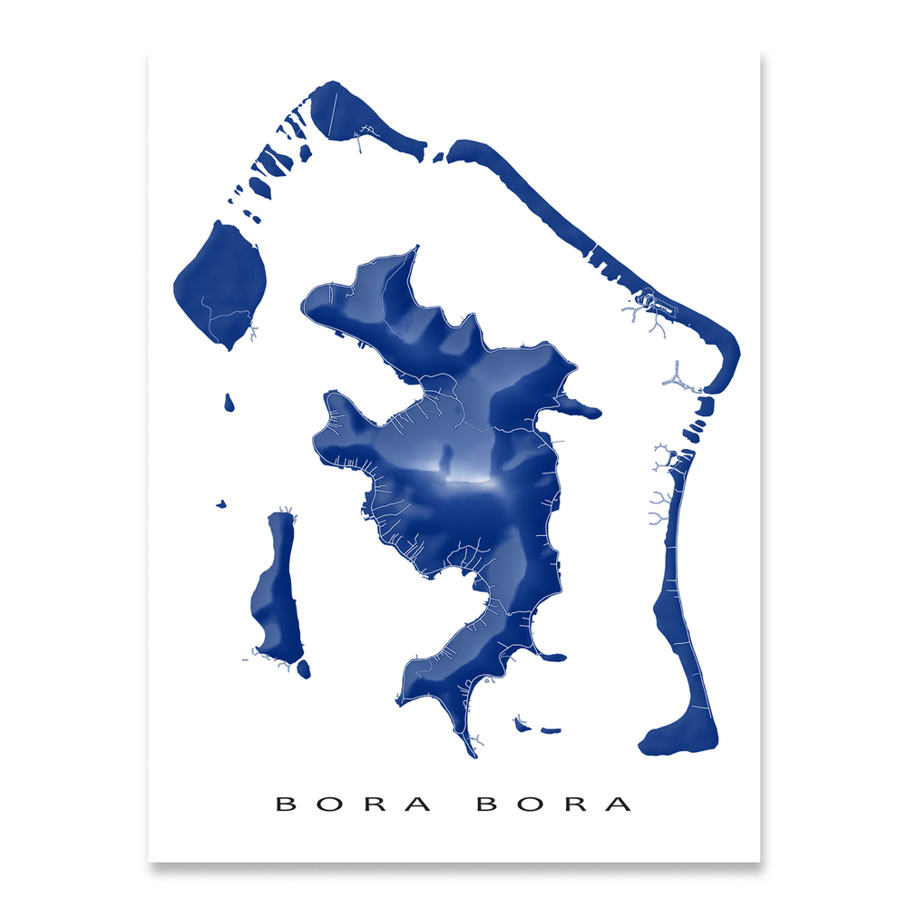Bora Bora map print with natural landscape and main roads in Navy designed by Maps As Art.