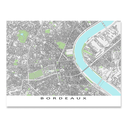 Bordeaux, France map art print with city streets and buildings designed by Maps As Art.