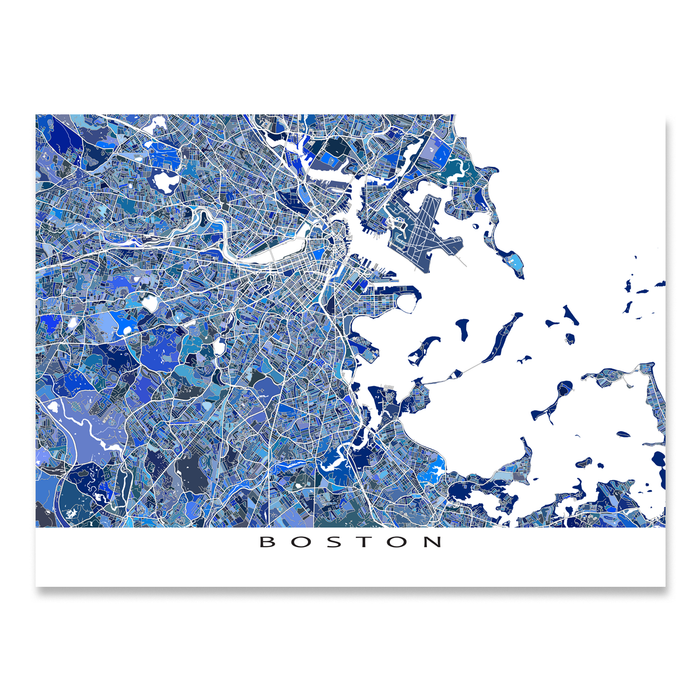 Boston, Massachusetts map art print in blue shapes designed by Maps As Art.