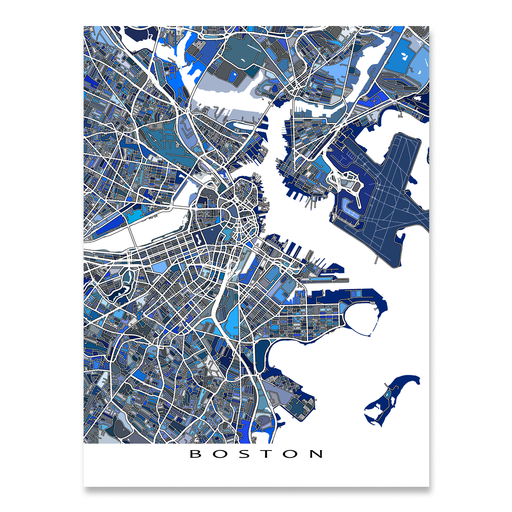 Boston Map Print, Massachusetts, USA