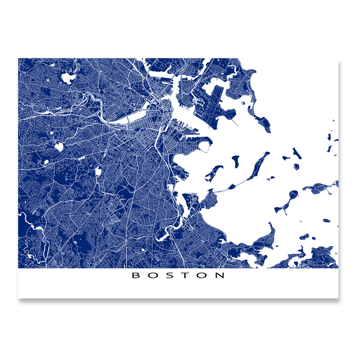 Boston, Massachusetts map print with city streets in Navy designed by Maps As Art.