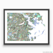 Boston, Massachusetts map art print in colorful shapes designed by Maps As Art.