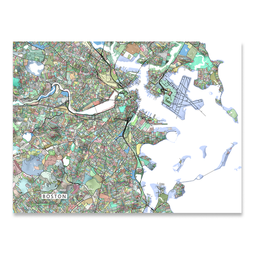Boston Map Print, Massachusetts, Colorful
