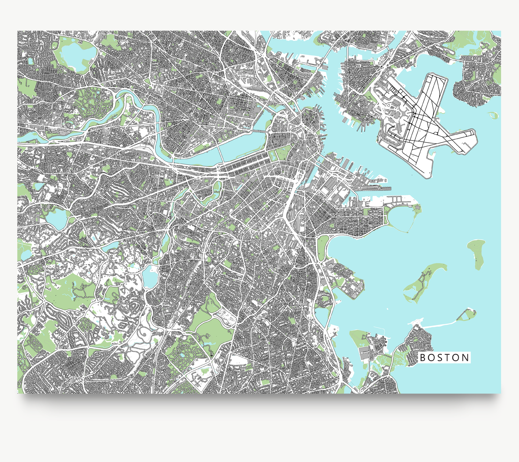 graphic relating to Printable Map of Massachusetts referred to as Boston Map Print, Machusetts, United states, Gray